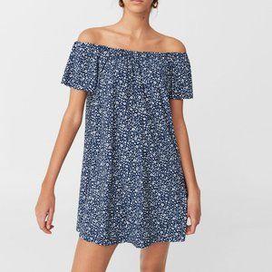 Mango basics navy + white off the shoulder dress